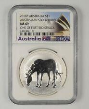 MS69 2016-P Australia 1 Dollar Silver Horse 1 Of 1st 500 Struck Grade NGC *368