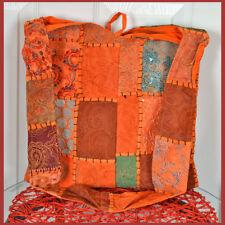Hand Made from Vintage Hand Embroidered Patches Sling Bag, Shoulder Bag Orange