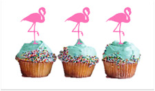 12X EDIBLE CUPCAKE TOPPER FLAMINGO STAND UP , THICK PREMIUM WAFER CARD