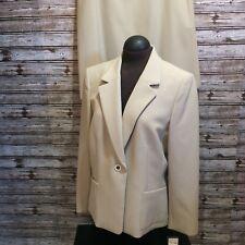 LeSuit Women Suit 2 Pc Skirt Jacket Beige, White Stripes Career, Modest Size 16