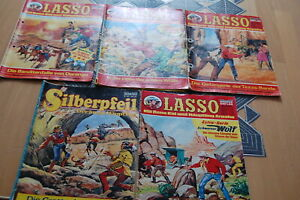 4 x Lasso 1 x Silberpfeil Comics,  Lassos gelocht, arg gebraucht, Bilder,