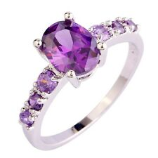 925  SILVER EP 2.2CT LADIES AMETHYST OVAL CUT RING SIZE 6-13 you choose