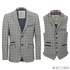 Mens Designer Slim Fit Jacket Windowpane Grey Blue Check Casual Blazer Waistcoat