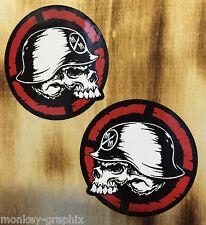 2er Set Oldschool Metal Skull Aufkleber Sticker Skater Motocross Hoonigan Army