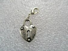 SILVER COSTUME HEART LOCK CLIP ON CHARM