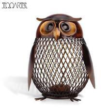 Box Figurine Owl Shaped Piggy Bank Metal Coin Money Saving Kids Gift Savings