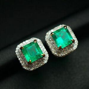 2.01Ct Natural Colombian Emerald Brilliant Diamond Screw Stud Earrings G18K Gold