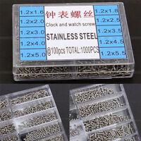 1000pcs/Set Tiny Steel Screws Assortment Tool Micro Watch Eyeglass Kit 1.6-5.5mm
