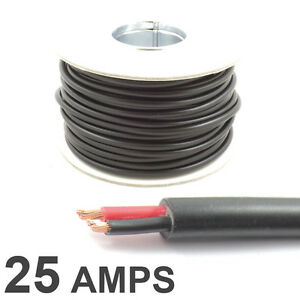 Round Twin 2 Core Cable 12v 24v Thin Wall Wire 25 AMP Rated 2mm² 10M 30M 100M