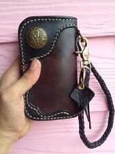 Handmade Genuine Leather Biker Men's Middle Wallet with Braided leather brass