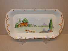 Vintage White Ceramic 28cm Hand Painted Sandwich Tray Signed D. Corver Lovely
