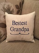 Laura Ashley Natural Austen Fabric BESTEST GRANDPA Cushion Cover Embroidered