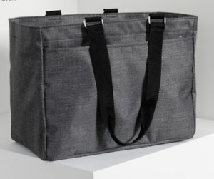 """Essential Storage Tote (new) CHARCOAL CROSSATCH - APPROX. 14.5""""H X 12""""L X 9""""D"""