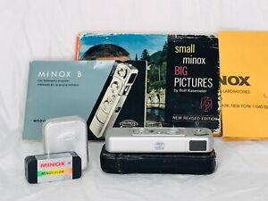 Vintage Minox B Spy Camera with Book Manual Accessories Made in Germany