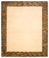 Morgenland Tapis Gabbeh Natura beige noué à la main laine bordure couleur unie