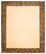 Gabbeh Teppich Verschiedene Größen Beige Bordüre Handgeknüpft aus Schurwolle