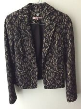 Review Long-sleeved Black and Cream Lace Winter Jacket in v g condition