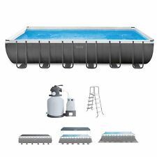 Intex 32 x 16 x 4.3 Foot Ultra Frame Rectangular Swimming Pool Set Sand Filter