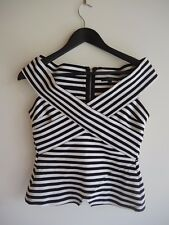 Stunning  Black & White Stripe PORTMANS OFF SHOULDER Cross Over V Neck Top
