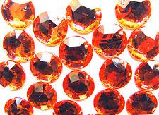 240 Orange Faceted Beads Acrylic Rhinestone Gems 12 Mm Round Flat Back Stitch on