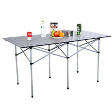 "55"" Roll Up Portable Folding Camping Square Aluminum Picnic Table w/Bag New"