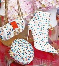 Nw Christian Louboutin Snakilta White Leather Spike Ankle Boot 120 Heel 40/9 9.5