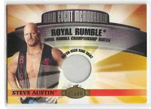 Steve Austin 2001 Fleer WWE Royal Rumble Match-Used Ring Skirt Card S-A