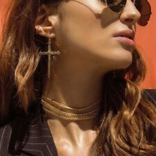 UK BOHO CROSS DANGLE DROP EARRINGS Silver Fashion Jewellery Gothic Punk Rock