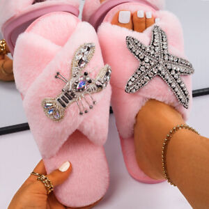 Starfish Lobster Decor Furry Slides Women's Faux Fur Slippers Casual Open-toed