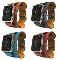 For Apple Watch Cuff Band Series 5 Genuine Leather Strap iwatch 38/40mm 42/44mm