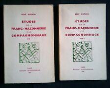 Etudes sur la franc-maçonnerie et le compagnonnage. René Guenon. Traditionnelles