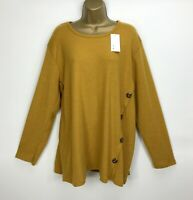 New Italian Tunic Top Mustard Soft Touch Buttoned UK Size 14 16 18 Long Sleeved