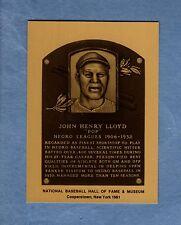 JOHN HENRY POP LLOYD, Negro League Hall of Fame METALLIC plaque-card: 1 of 1,000