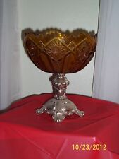 Amber Glass Tall Fruit Bowl