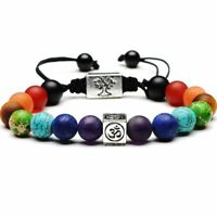 7 Chakra Bracelets Tree Life Charm Beads Stones Weave Rope Chain Yoga Unisex 20g