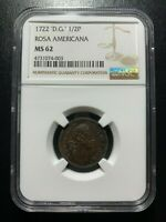 1722 D.G 1/2P Rosa Americana NGC MS62 Halfpenny EAC Colonial Copper FINEST KNOWN