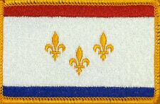 NEW ORLEANS FLAG Embroidered Iron-On PATCH  EMBLEM GOLD Border #01