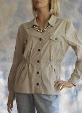 DRESSBARN Sz XL Light Jacket Coat Mid Thigh Gathered Waist Beige Rip Stop Cotton