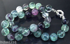 """Charm 8mm Round Natural Rainbow Fluorite Necklace 18"""" Knotted Gemstone  AA"""
