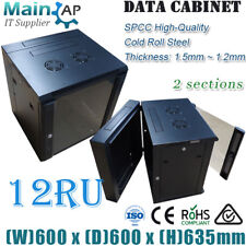 """12RU 12U 19"""" 600x600mm WALL MOUNT COMPLETED SERVER RACK CABINET WITH 7 WAYS PDU"""