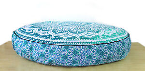 "35"" Cotton Indian Large Round Floor Cushion Pillow Cover Pouf Meditation Cover"