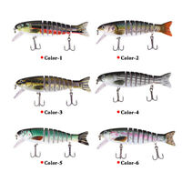 11Cm Fishing Lures 8 Segment Fish Bass Minnow Swimbait Tackle with Hook USA