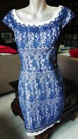 REVIEW PRETTY BLUE LACE PENCIL DRESS WITH NUDE LINING SIZE 10. Like NEW.
