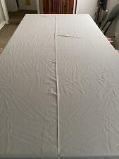"Vintage gray tablecloth scalloped white trim 132 x 60"""