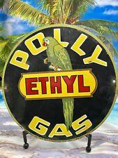 VINTAGE POLLY GASOLINE REGULAR PORCELAIN SIGN USA GREEN PARROT GAS PUMP PLATE 12