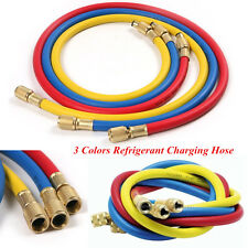 "3 Colors Car 1/4"" SAE AC Charging Hoses Tube Refrigerant R134a Air Conditioning"