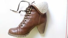 New Nine West Women Foryoff Light Brown Faux Fur Wedge Booties US Size 6 M