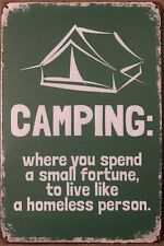 CAMPING Rustic Look Vintage Tin Metal Sign Man Cave, Shed-Garage & Bar Sign