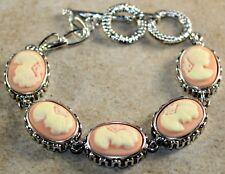 Silver Vintage Style Pink Cameo Beauty Girl Cameo Oval Bracelet WB11204