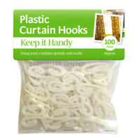 100 X Practical Curtain Hooks For Curtains White Plastic Nylon Tape Gliders